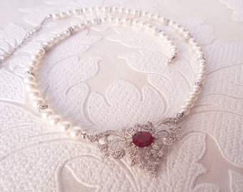 Filigree Bridal Necklace in .925 Sterling Silver with Swarovski Pearl and Ruby Red CZ for Victorian Wedding Jewelry Classic Bride Prom Gift