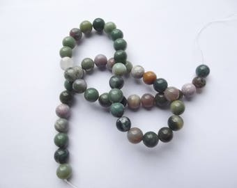 Indian agate multicolor 8 mm LIBY 407 46 smooth round beads