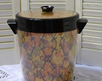 Vintage Thermoserv Ice Bucket Geometric Design Black Gold Orange Made in USA Retro Barware PanchosPorch