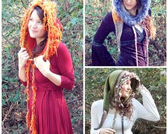 Crochet PATTERN: Trickster Hood / Art Yarn Crochet Pattern / Pixie Elven Hood Pattern / Faux Fur Crochet Pattern - Instant Download