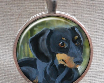 Dachshund Necklace ~ Original Art ~ Doxie Jewelry ~ Ready to Ship ~ Pet Keepsake ~ Dachshund Owner Gift ~ May Birthday