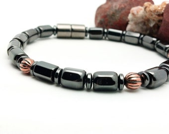 Men's Magnetic Bracelet || Therapy Alternative Pain Treatment || Vintage Copper Accents || Custom Sized Wellness Health