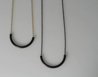 Black Crescent Necklace