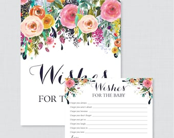 Floral Wishes for Baby Baby Shower Activity - Printable Well Wishes for Baby Cards and Sign - Instant Download- Shabby Chic Flower 0025-B