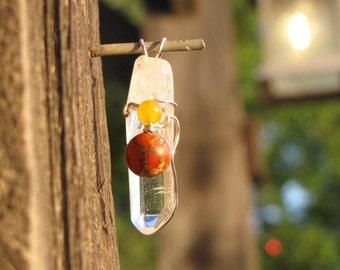 Wire Wrapped Clear Quartz w/Red Jasper & Yellow Jade Pendant
