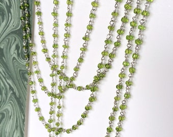 Peridot Rosary Chain, Glass Seed Bead Chain, Glass Bead Chain, 3mm, 5Ft