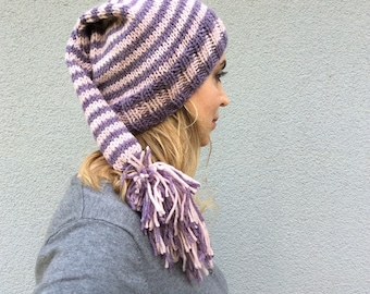 Purple Lilac Pompom Slouchy Hand Knitted Hat for Winter and Spring Autumn Fall, Long tailed Wool Yarn Pom-pom Christmas Gift, Xmas Present