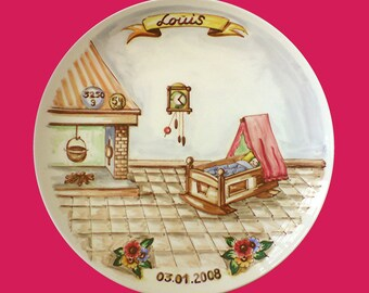 Birth plate weighing old style interior, hand-painted, stained