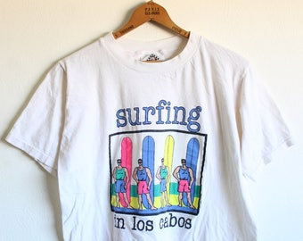 LARGE Vintage 1989 Surfing in Los Cabos Soft and Thin T-Shirt