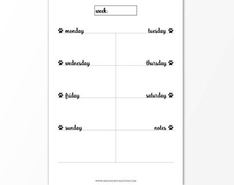 Weekly planner, weekly planner printable, Printable planner pages, Paws planner inserts, Student planner, Teacher planner