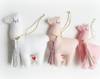 Llama Alpaca Hanging Ornament Decoration white , blush pink, baby pink, gold