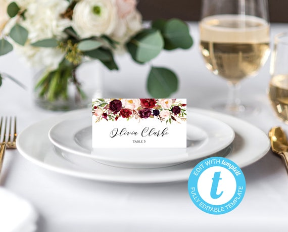 Place Cards Wedding Place Card Template Burgundy Template - Reserved place card template