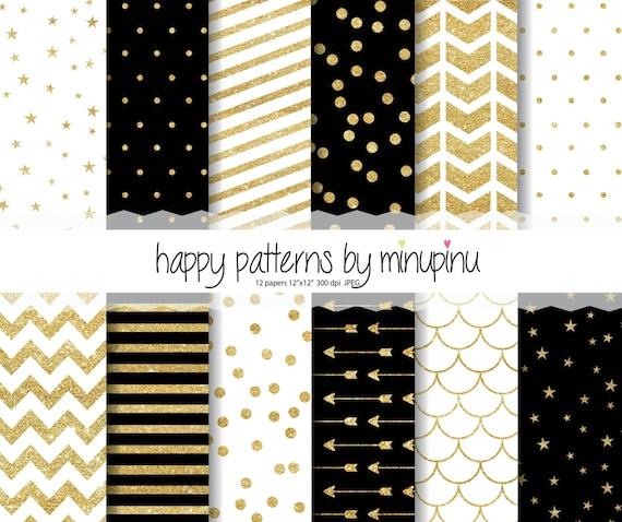 glitter digital paper black and gold glitter paper pack glam