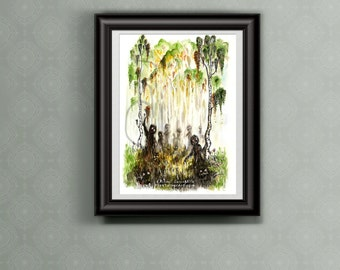 Unknown Entities - Watercolor Illustration - Forest - Autumn Alchemy