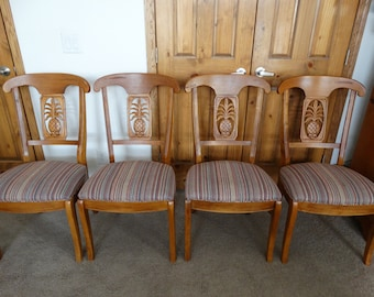 Ethan Allen Beautiful Vintage Pineapple Back Dining Chairs Set of 4