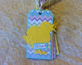 Gift Tags, Easter, Set of 5, Holiday Tags, Hang  Tags, Baby Chick
