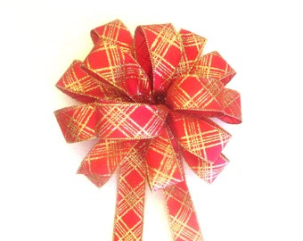 Christmas Bow, Wreath Bow, Red & Gold Bow, Tree Topper Bow