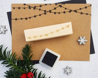 Christmas String of Lights Rubber Stamp  - Christmas Stamp - Tree Lights - Christmas Card Making - Banner Stamp - Bauble Bunting Stamp