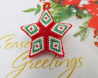 Christmas 3D Peyote Star  / Seed Bead Ornament  / Beaded Star /  Star in Red, White and Green / Christmas Gift / Beaded Ornament