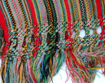 Traditional long scarf from Guatemala, handweaved, handmade, backstrap weaving, Central America, jaspe thread, fiber art, cotton, ethnic art