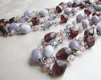 Mauve and Purple Necklace - Vintage Necklace - Statement Necklace