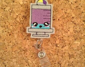 Badge Reel - Injection - Shot - Needle - Syringe - ID Badge Reel - Felt Badge Reel - Retractable Name Holder - Nurse Gift - 1119