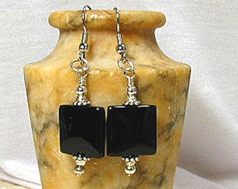 Silver and Black Onyx Square Earrings Silver Plated Fish Hook Ear Wires Pamper Her!