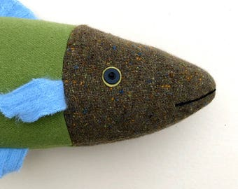 Green and Blue wool fish throw pillow doll