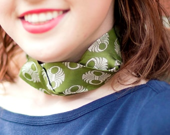 Tie Choker - Necktie Necklace - Gift For Wife - Hipster Clothing - Silk Choker - Memorial Gift - Fern Green Silk Isabella Choker. 06