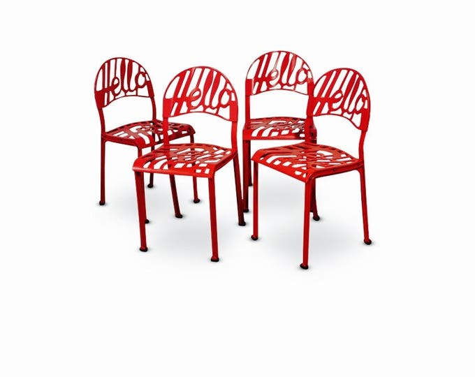 "Jeremy Harvey, Red ""Hello There"" Chairs for Artifort, 1978 (SET OF 4)"