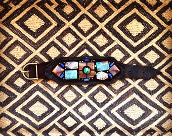 The CUFF BRACELET by Gilded-Mane: African Turquoise, Mother of Pearl, Sodalite and Brass Beads on Chocolate Leather