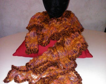 scarf ruffle long orange/brown