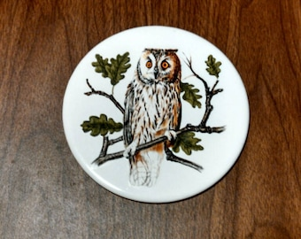 "vintage Hyalyn, 6"" owl plaque/trivet"