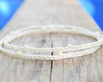Thin rope bracelet beach anklet cream braided anklet cotton rope anklet