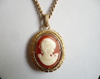 Cameo pendant etsy vintage avon cameo pendant necklace 1974 reversible gold tone 24 long chain aloadofball Choice Image