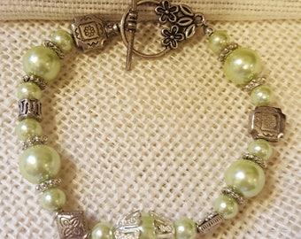 Silver Bracelet, Mint Green and Silver Bracelet, Pearl and Silver Bracelet, Antique Look Bracelet, Jewelry