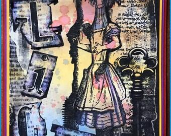 Alice Grunge Collage - a Wonderland themed grunge style digi art stamp!