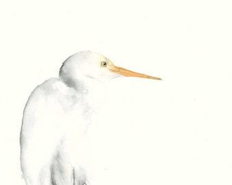 Silver Heron Fine Art Print from Original Watercolor Artwork