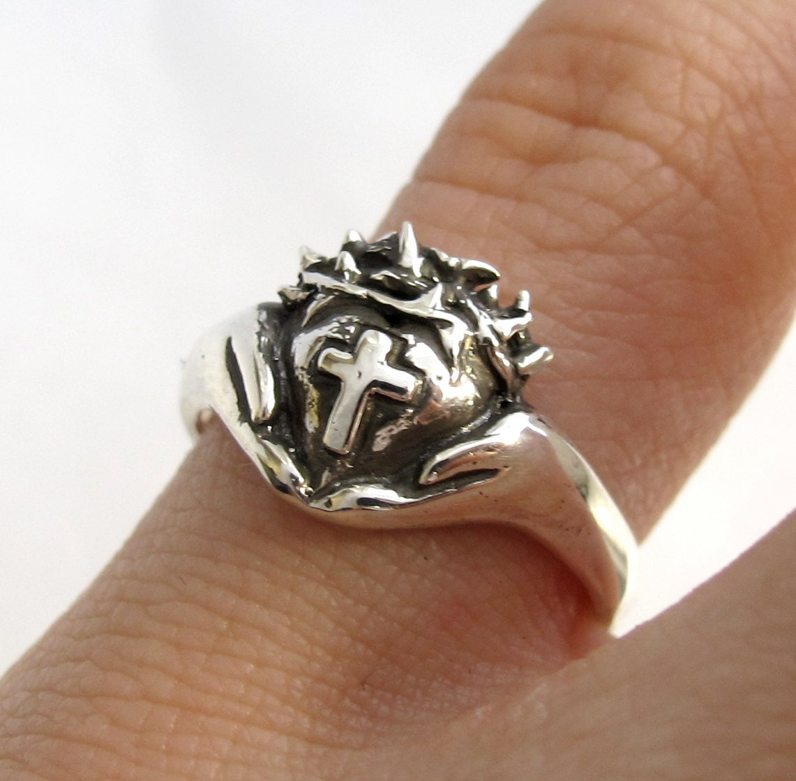 Crown of Thorns Claddagh Ring Religious Silver Cross Ring Celtic