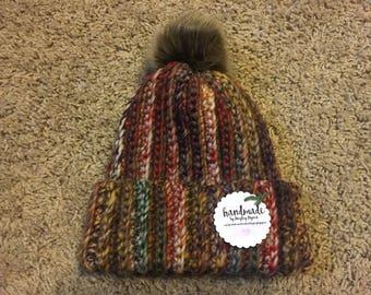 Faux Fur Pom Pom Brimmed Hat