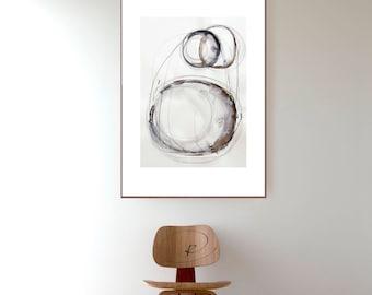 Original abstract art ink drawing- Black white gray, nature abstract ink art, stones, circles art, abstract, nature art, ink art, minimal