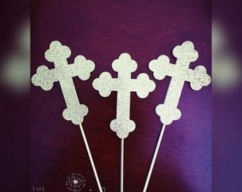 Baptism Centerpieces, Crosses, Cross Sticks, Christening Centerpieces, Christening Decorations, Baptism Decorations