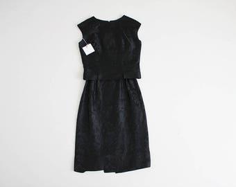black brocade dress | silk brocade dress | 60s black dress