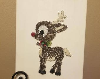 Rudolph Red Nose String Art