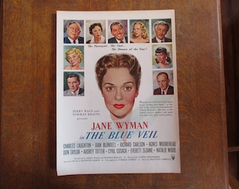 "1951 Original Vintage Movie ad ""The Blue Veil""  starring Jane Wyman"