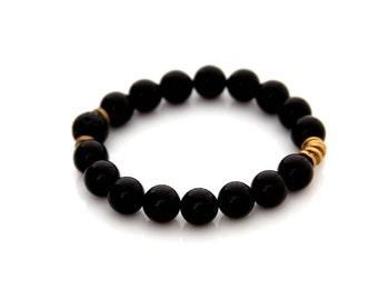 Schwarzer Onyx Armband - ätherisches Öl-Armband