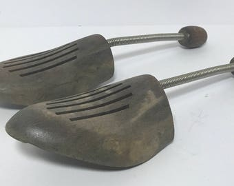 Vintage | German Made Shoe Trees | wood and metal spring