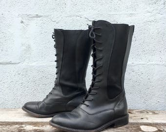7 B | Women's Cole Haan Country Tall Lace Up Chelsea Boots in Black