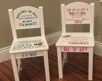 Personalized Boy & Girl Timeout Chairs