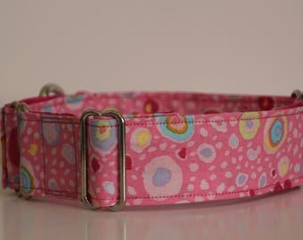 "Greyhound - Roman Glass Pink 1.5"" Martingale Collar"